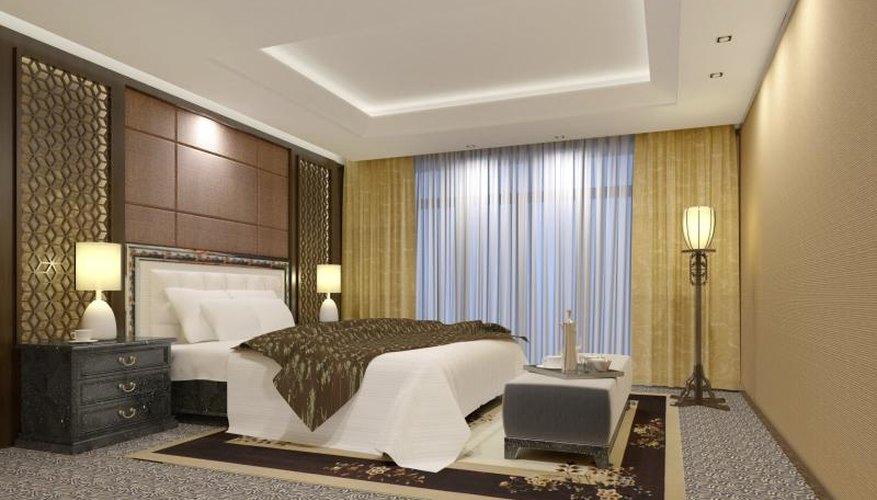 Bedroom with jewel toned walls.