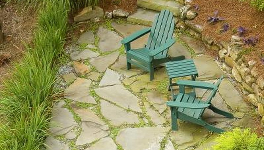natural stone patio and small chairs