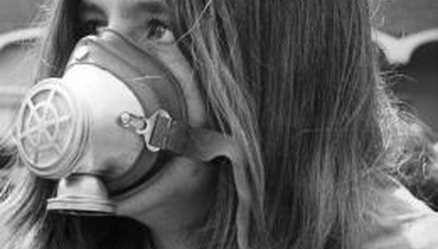 some attendees wore gas masks