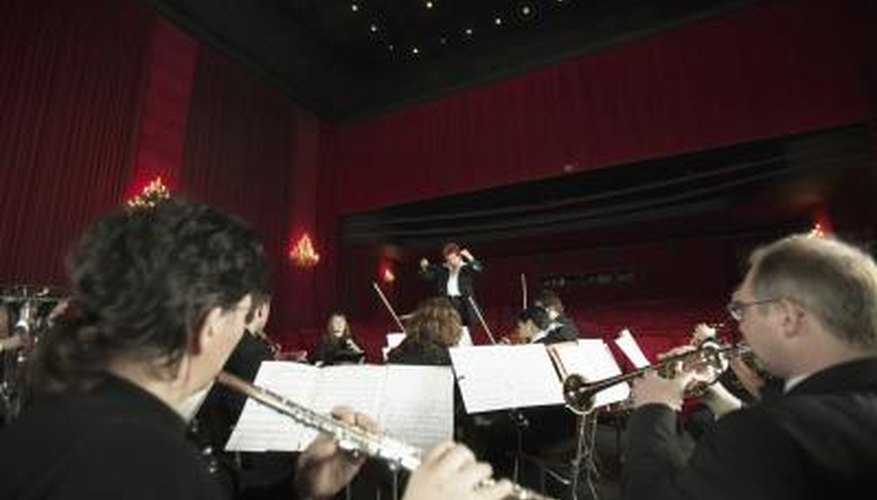 Flutes and trumpets are part of a full orchestra.