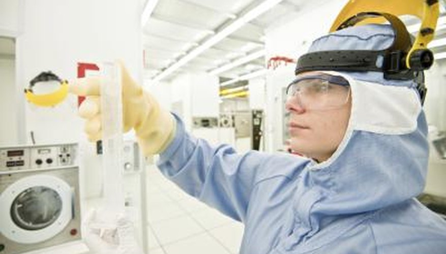 Woman in lab with acetone