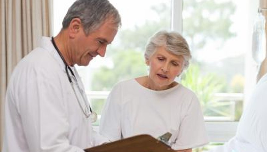 Mature woman talks to doctor