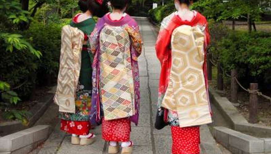 Three Geishas in Japan