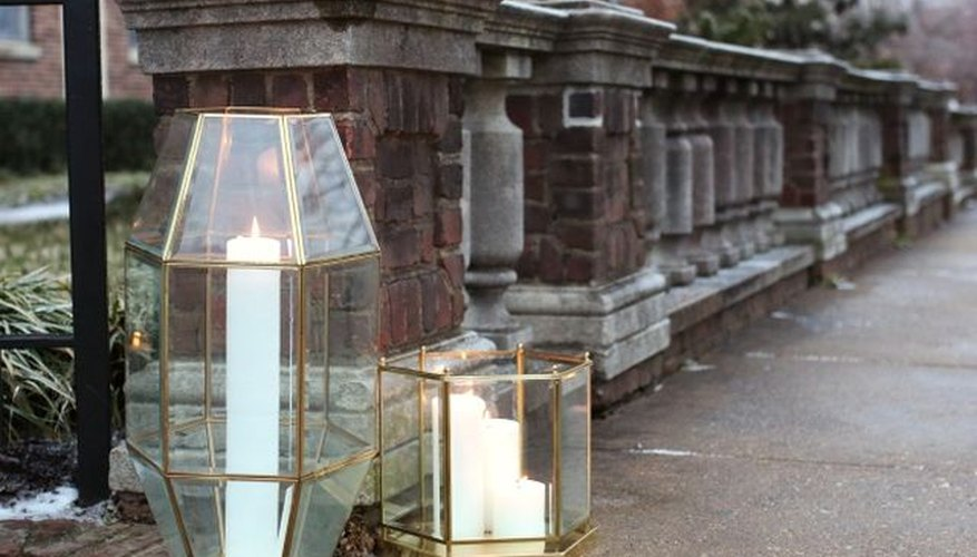 Repurpose old light fixtures into modern geometric candle holders.