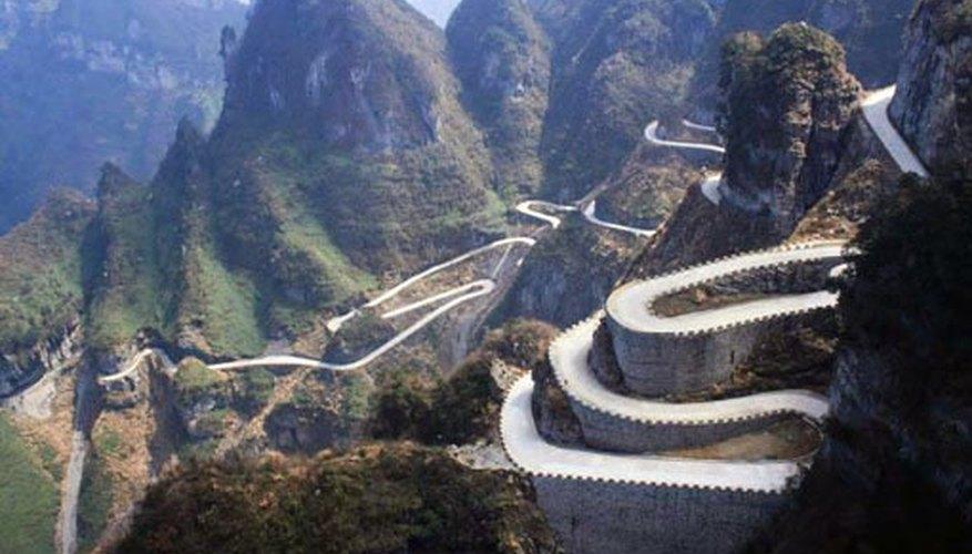 Imagen aérea de la Carretera de Tian Men Shan