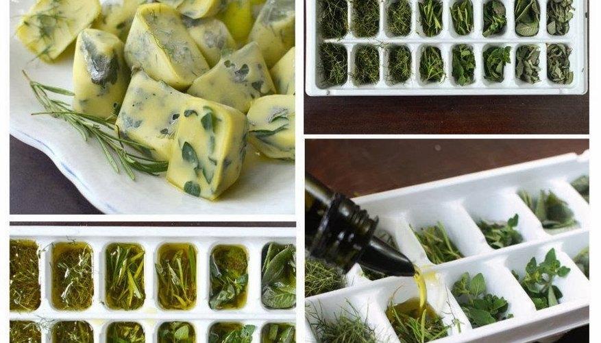 Especias rociadas con aceite de oliva