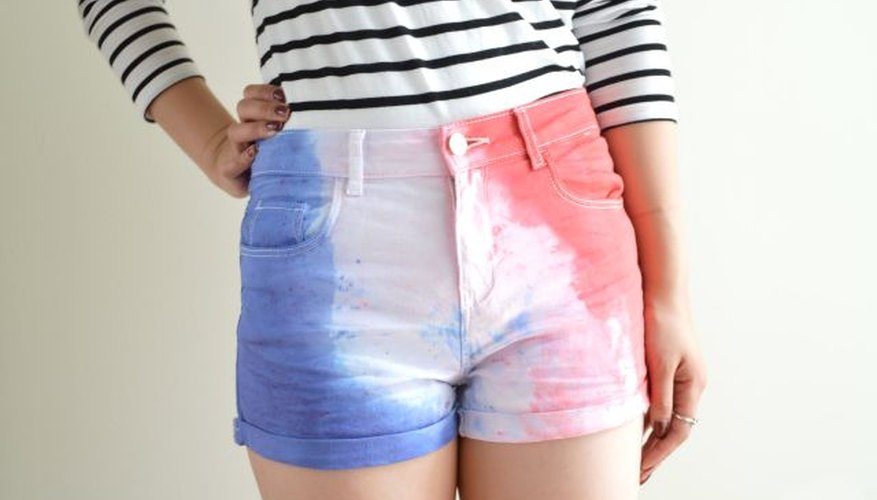 Red and blue fabric dye on white shorts is perfect for July 4th.