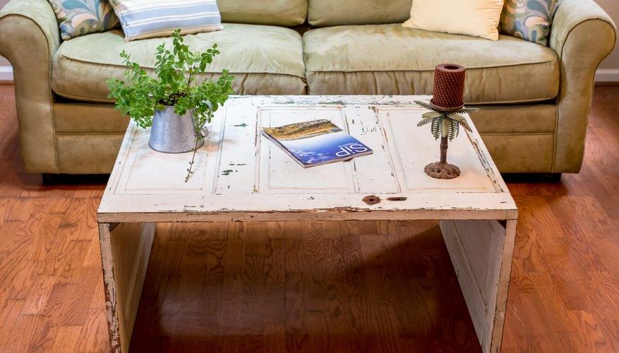 A rustic door coffee table creates a shabby chic feel!