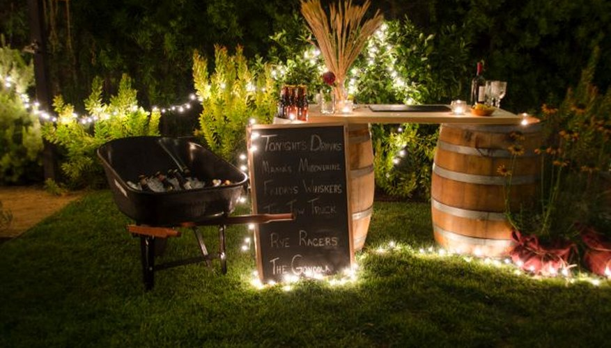 Strands of outdoor lights add ambiance and enough light to guide your guests.