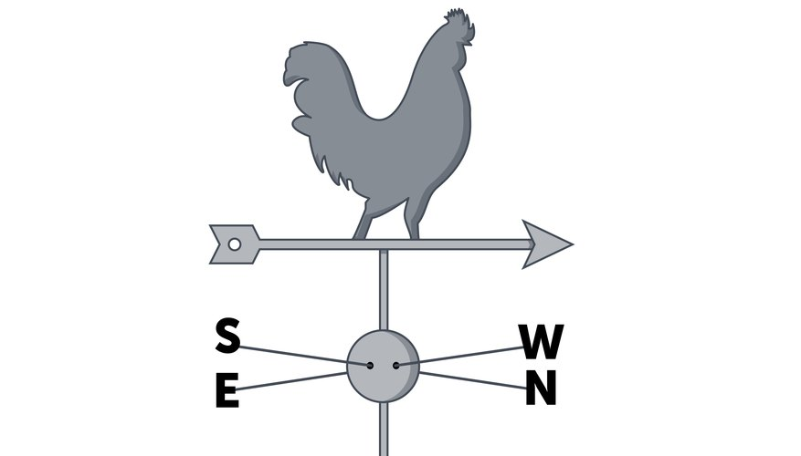 A simple wind vane indicates wind direction