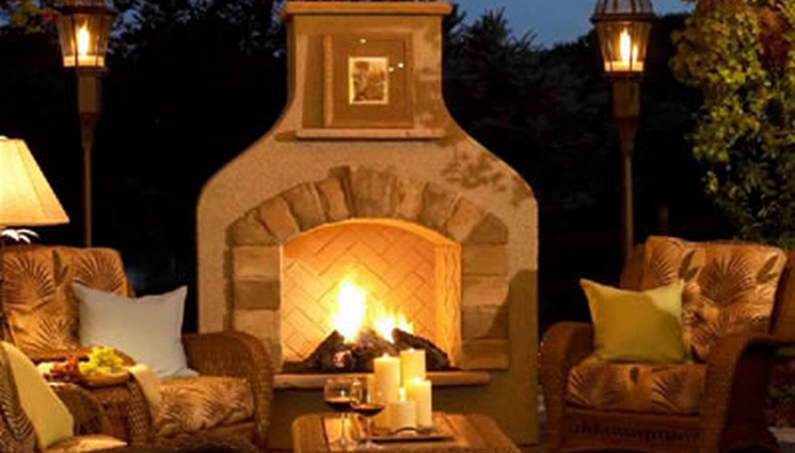 A romantic outdoor fireplace