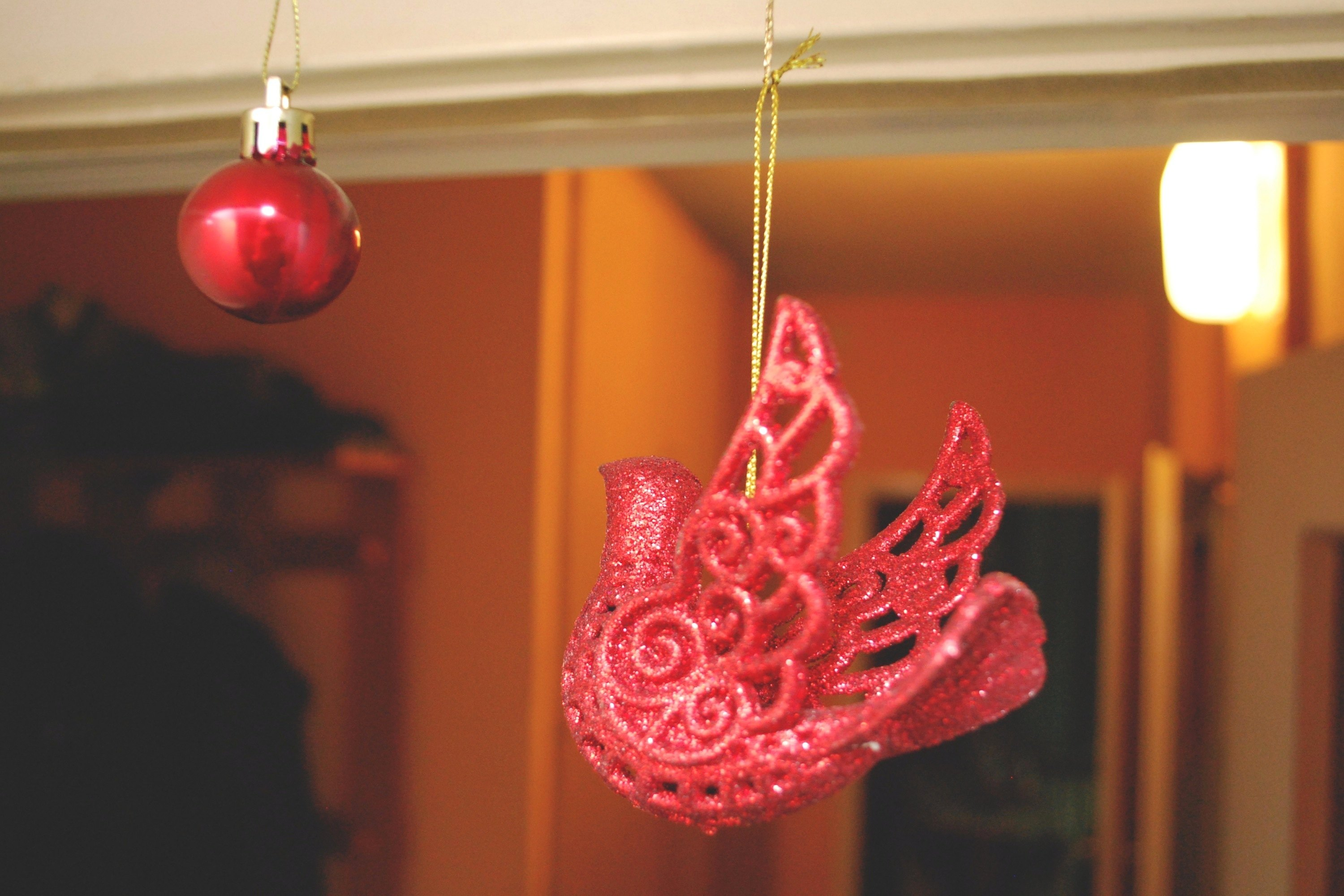 How to hang christmas ornaments from the ceiling with