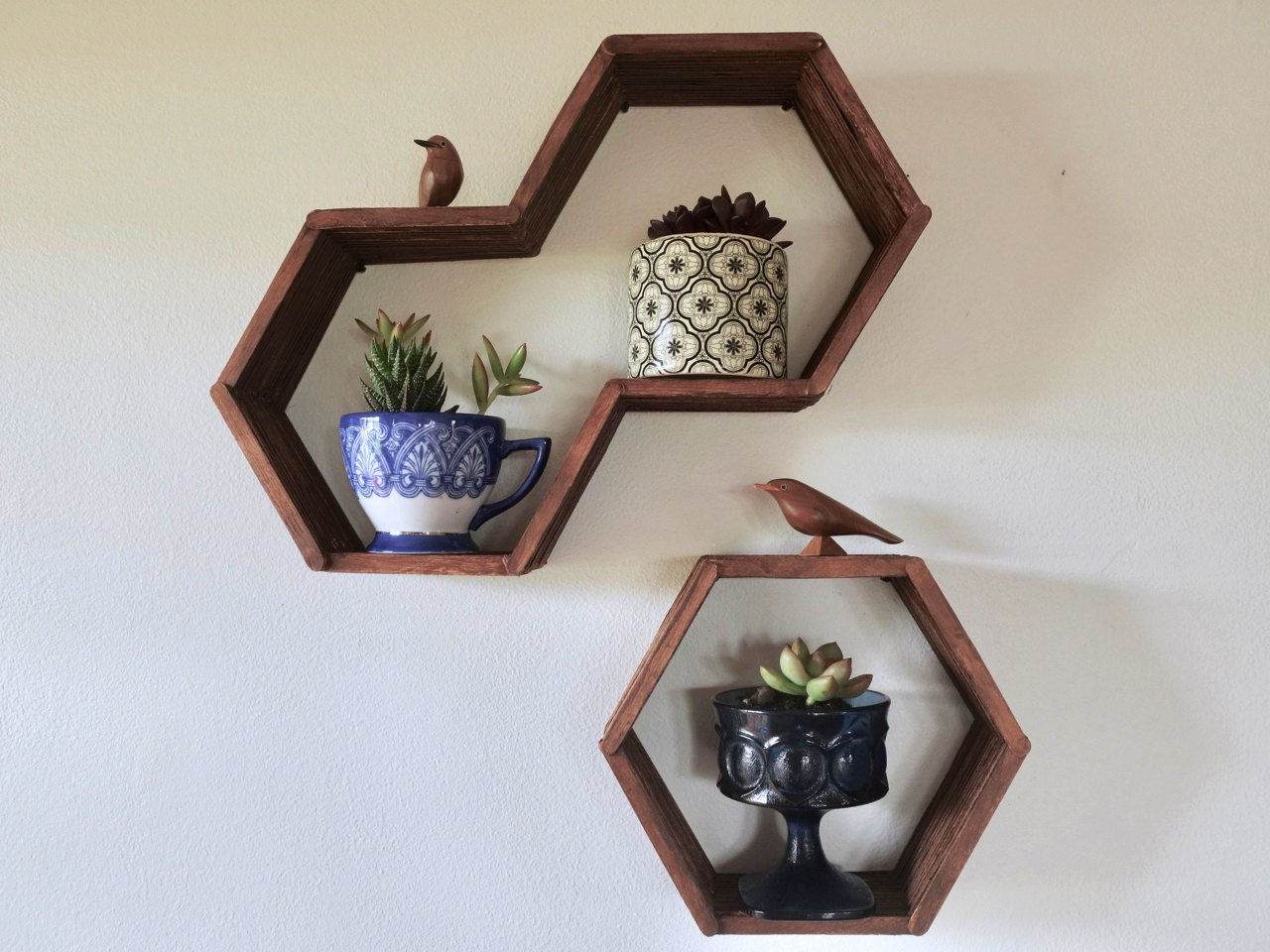 Hexagon Honeycomb Shelves Made With Popsicle Sticks