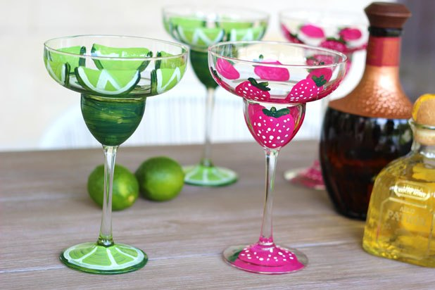 Hand-painted margarita glasses