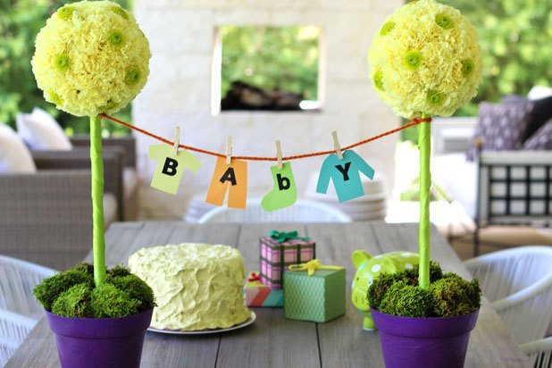 Baby Shower Topiary Clothesline Centerpiece