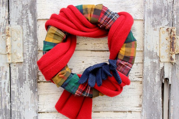 Flannel and Scarf Autumn Wreath
